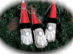 Rustic  Linen  Santa  Ornaments  set of 3  by Mydaisy2000 on Etsy, $28.00