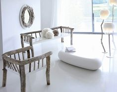 Furniture incorporating driftwood
