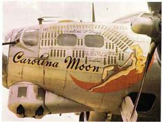Carolina Moon B-17G-75-BO 43-37907  851BS, 490BG, 8th AF  This Fortress arrived at Eye on 2 July, 1944 and passed on to a second crew in December who in addition to the name added wives and girlfriends names to the crews positions. This a/c was credited to downing an Me-262 jet fighter by its gunners. The B-17 survived the war and was flown back to the US in mid-1945 and was sold as scrap at Kingman in December of that year.