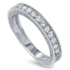 Vintage 1/3CT Diamond Wedding Ring 14K White Gold Hand Engraved Antique Anniversary Stackable Guard Band