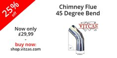 Stainless steel 45 degree bend for use to extend chimney flue especially designed for wood fired ovens.  Now 25% off! Buy now: http://shop.vitcas.com/chimney-flue-45-degree-bend-1008-p.asp