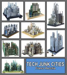 Rascacielos con basura electrónica.  El artista italiano Franco Recchia tiene un pasatiempo inusual, convierte la basura electrónica, viejos ordenadores y computadoras, en maravillosas maquetas de conocidas ciudades. Ver galería: http://ecoinventos.com/maquetas-con-basura-electronica/