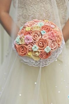 If you wish to keep your bridal bouquet forever, consider carrying a bouquet of crocheted flowers as you walk down the aisle! | www.BridalBook.ph #weddings #bouquets