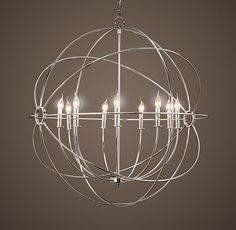 Alternate entryway light -- We can discuss scale / size - Foucault's Iron Orb Chandelier Polished Nickel Large