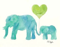 Watercolor Mom and Baby Elephants with Heart by GrowCreativeShop