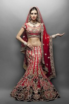 Traditional Red & Maroon Bridal Lengha