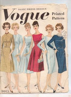 Lovely 1960s Vogue ladies daywear dress pattern #3005. #vintage #1960s #dresses #sewing_patterns