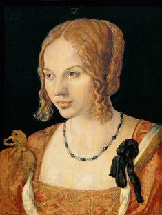 Albrecht Dürer ( German painter, 1471 – 1528) - Portrait of a Young Venetian Lady, 1505 во Флоренции в 1546 был заново введён в действие средневековый закон, обязывающий куртизанок использовать опознавательные знаки: покрывать лицо жёлтой вуалью или прикреплять к одежде жёлтый бант. В 1562 году ношение вуали заменили беретом.