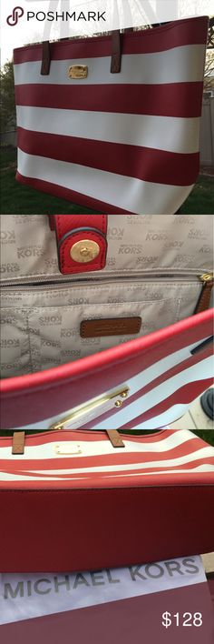 Michael Kors large red and white stripe tote Michael Kors summer tote in a nautical red and white stripe with tan trim. MK logo in brass. Never used. Michael Kors Bags Totes