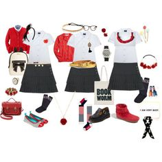 Back to School Uniform Ideas: Red, Black and White… Toddler School Uniforms, Back To School Uniform, School Uniform Outfits, Cute School Uniforms, Kids Uniforms, Back To School Fashion, School Wear, Uniform Ideas, School Uniform Accessories