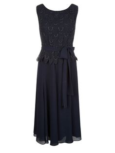 NEW JACQUES VERT Navy Embroidered Beaded Scallop Bodice Dress