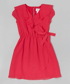 Love this Blush by Us Angels Berry Ruffle-Front Wrap Dress - Girls by Blush by Us Angels on #zulily! #zulilyfinds
