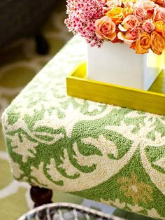 Use a rug to cover an ottoman