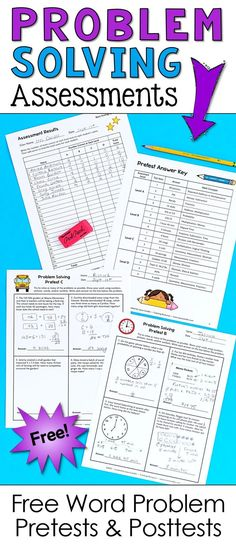 How well do your students solve math word problems? These free word problem tests will help you assess your students' needs so you know where to begin your problem solving lessons! Free Teaching Resources, Teaching Math, Teaching Tips, Teaching Critical Thinking, Guided Math, Math 2, Math Fractions, Multiplication, Math Problem Solving