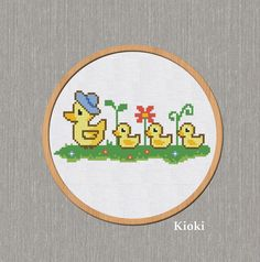 Cross Stitch Pattern Mother Duck with Ducklings Instant Download