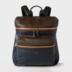 Paul Smith Navy And Brown Lamb Leather Backpack masturbate your eyes! | IG: alexquisite