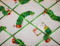 Medium Hungry Caterpillar Hand Crafted Fabric Notice / Pin / Memo Board