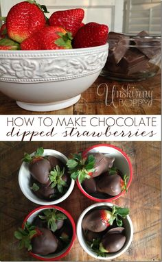 How to make easy chocolate dipped strawberries - Unskinny Boppy Cookie Desserts, Just Desserts, Delicious Desserts, Creative Desserts, Yummy Food, Candy Recipes, Fruit Recipes, Dessert Recipes, Candy