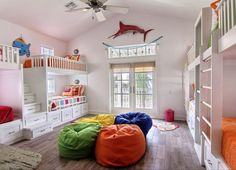 Beachy and colorful bunk room at Sea La Vie, Cinnamon Shore, Mustang Island, TX {House of Turquoise}