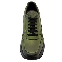 Elevator Sneakers - Upper in olive green burnished, insole in genuine leather, 2 pairs of cotton shoe laces. Hand Made in Italy. Elevator shoes, height increasing shoes, tall shoes.