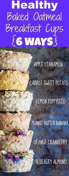 Diet Snacks These Healthy Baked Oatmeal Breakfast Cups are a perfect make ahead breakfast that is also freezer friendly! One base recipe with 6 different Delicious flavors! Gluten free, vegan and refined sugar free too! Scones Vegan, Weight Watcher Desserts, Breakfast Desayunos, Healthy Baked Oatmeal, Oatmeal Breakfast Bars Healthy, Make Ahead Oatmeal, Sugar Free Breakfast, Baked Oatmeal Cups, Recipe For Oatmeal