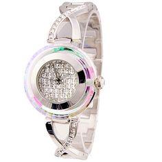 Smays Woman Metal Watch with Diamond Dial (Silver)