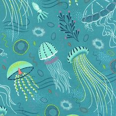 This print features lovely undersea creatures including jellyfish and octopus on a turquoise watery background. From the Into the Deep Beach Fabric, Tropical Fabric, Michael Miller Fabric, Medusa, Fish Art, Textiles, Quilts, Octopus, Creative