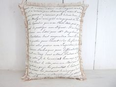 French script pillow burlap pillow accent by 112FarmhouseLayne