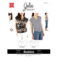 Bobbie V-Neck Top Jalie Sewing Pattern 3880. Girls 2 to 13y, Womens 2 to 24. T Shirt Sewing Pattern, Top Pattern, Sewing Patterns, Sewing Designs, Pattern Ideas, Shirt Patterns, Blouse Ample, Make Your Own Clothes, Couture Sewing