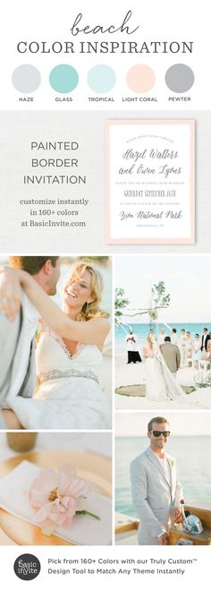 An end of summer beach wedding sounds like the perfect idea! Our Painted Border invites are super easy to customize. Mix and match colors until you find the perfect tropical mix!