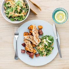 My Food Bag - Nadia Lim - Recipes - Lemon Garlic Chicken with Sesame Kumara and Carrot Slaw Healthy Side Dishes, Easy Healthy Breakfast, Healthy Eating Recipes, Healthy Snacks For Kids, Healthy Food, Healthy Dinners, Healthy Smoothies, Delicious Recipes, Carrot Slaw