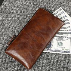 2017 New Long Men Wallets High Quality Leather Wallet Real Brand Purse Card Holder Zipper Vintage Money Bag Portefeuille Homme