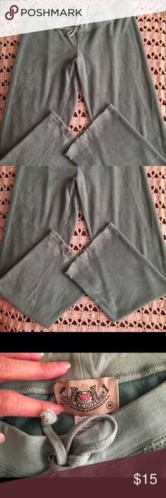 Juicy Couture Terry Pants Size Medium Good Overall Condition in a dark mint green color - does have slight wash wear and piling as shown in detailed photos/ the lighting in the photos makes the pants look a little faded in certain areas like hem lines but they are true to color with no significant fading Juicy Couture Pants Track Pants & Joggers