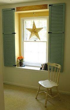 Like the idea of window shutters inside, especially on hinges. Shutters Inside, Interior Window Shutters, Old Shutters, Outdoor Shutters, Repurposed Shutters, Dormer Windows, Blinds For Windows, Windows Pic, Window Blinds