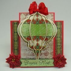 Angela Christmas Step Card using Heritage Christmas Ornaments