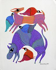 Animals and bird Size- 35 X 28Cms. (13.78X11.024 inch) Artist – Nikki Singh Ureti Year of exhecution-2015