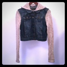 Sweater/Jean Jacket Super Cute Sweater sleeves and hood Jean jacket!! Removable hood and the Jean part is a bit distressed looking! Only wore a couple of times in good condition!! The size on the jacket says large but it fits like a small that's why I put down small Jackets & Coats Jean Jackets