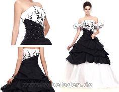Extravagant Brautkleider Schwarz Weiß Lang Taft Duchesse - mix