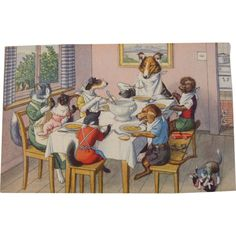 Alfred Mainzer Dressed Cats Postcard Max Kunzli Illustrated Zurich, Switzerland Cats & Dogs at Dinner