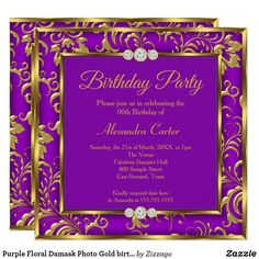 Shop Purple Floral Damask Photo Gold birthday Party Invitation created by Zizzago. Elegant Birthday Party, Gold Birthday Party, Bachelorette Party Invitations, Birthday Party Invitations, Photo Gold, Custom Invitations, Damask, Purple, Floral