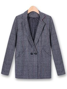 Plaid Woolen Women Outerwear Casual Winter Long Sleeve Coat
