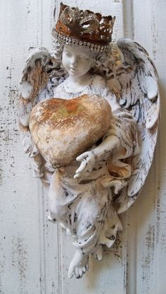 Angel statue wall sculpture shabby chic hand by AnitaSperoDesign