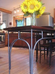 EASY DO - NICE JOB ESPECIALLY CONSIDERING IT'S ONLY REBAR! Custom Rustic Industrial Sofa Table