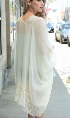 Gorgeous Boho Lace Border Trim Kimono with Armholes