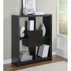 Cappuccino Hollow-Core 48-Inch Bookcase w/ Storage Drawers
