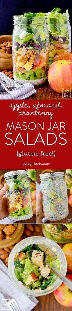 Apple, Cranberry, Almond Mason Jar Salads with homemade Greek Yogurt Poppy Seed Dressing are a fresh and healthy make-ahead lunch option!   iowagirleats.com