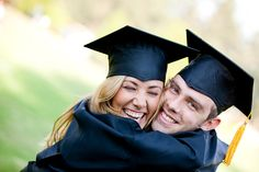 Graduating Hispanic couple in cap and gown hugging - Graduation pictures,high school Graduation,Graduation party ideas,Graduation balloons