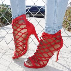 Wear these super sexy heels with any outfit for a show-stopping look Black Dress Red Heels, Red Heels Outfit, Heels Outfits, Open Toe High Heels, Red High Heels, Womens High Heels, Caged Heels, Stiletto Heels, Shoes Heels
