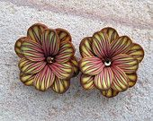 red and yellow polymer clay petal flower beads