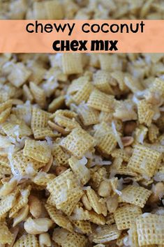 Chewy Coconut Chex Mix is a great snack for a picnic or soccer game!